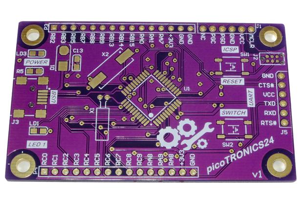 picoTRONICS24 PIC24 16-bit Development Board PCB