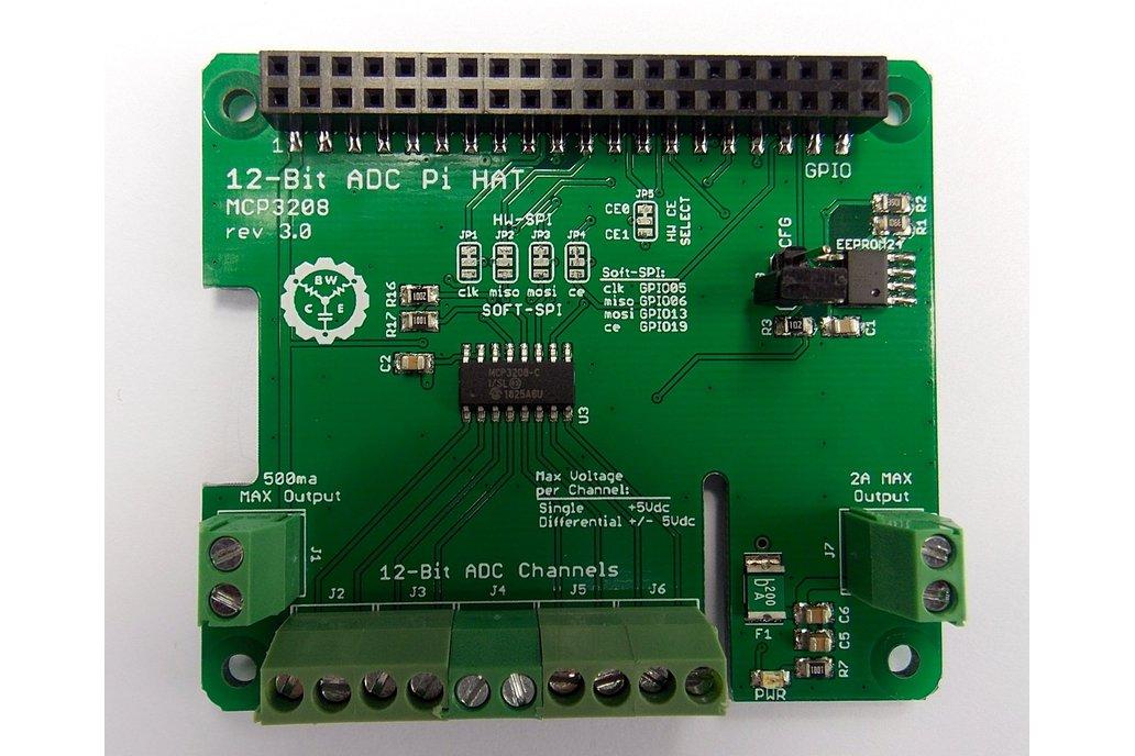 12-Bit/8-Channel ADC HAT for Raspberry Pi v3.0 1