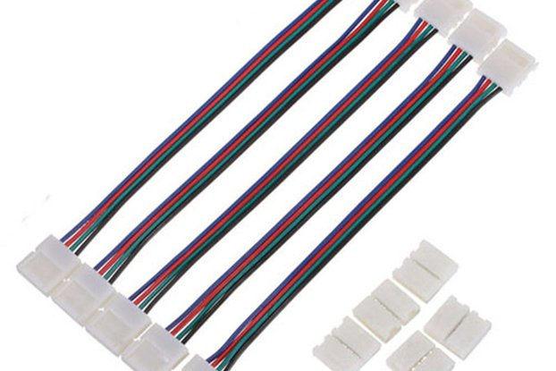 5pcs 8mm 4pin SMD 3528 Double Head Connector Cable