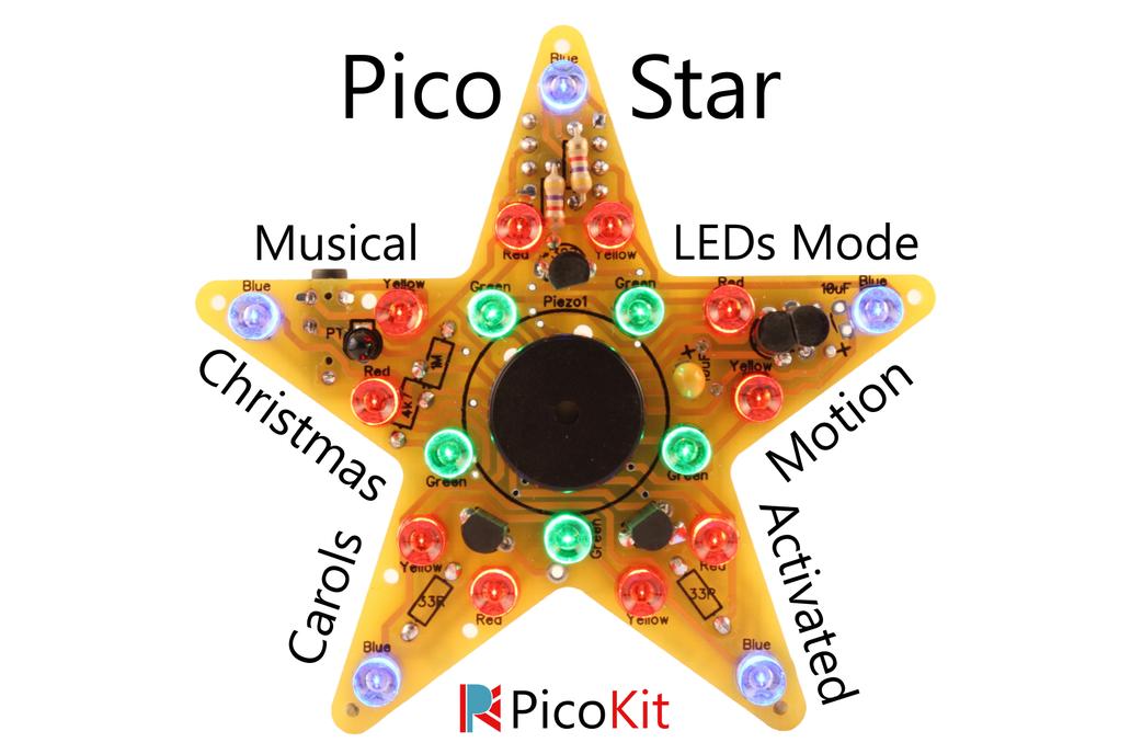 PicoStar Musical Christmas Star - Soldering Kit 1
