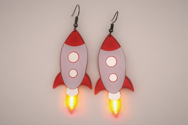 TO-THE-MOON rocket pair of earrings