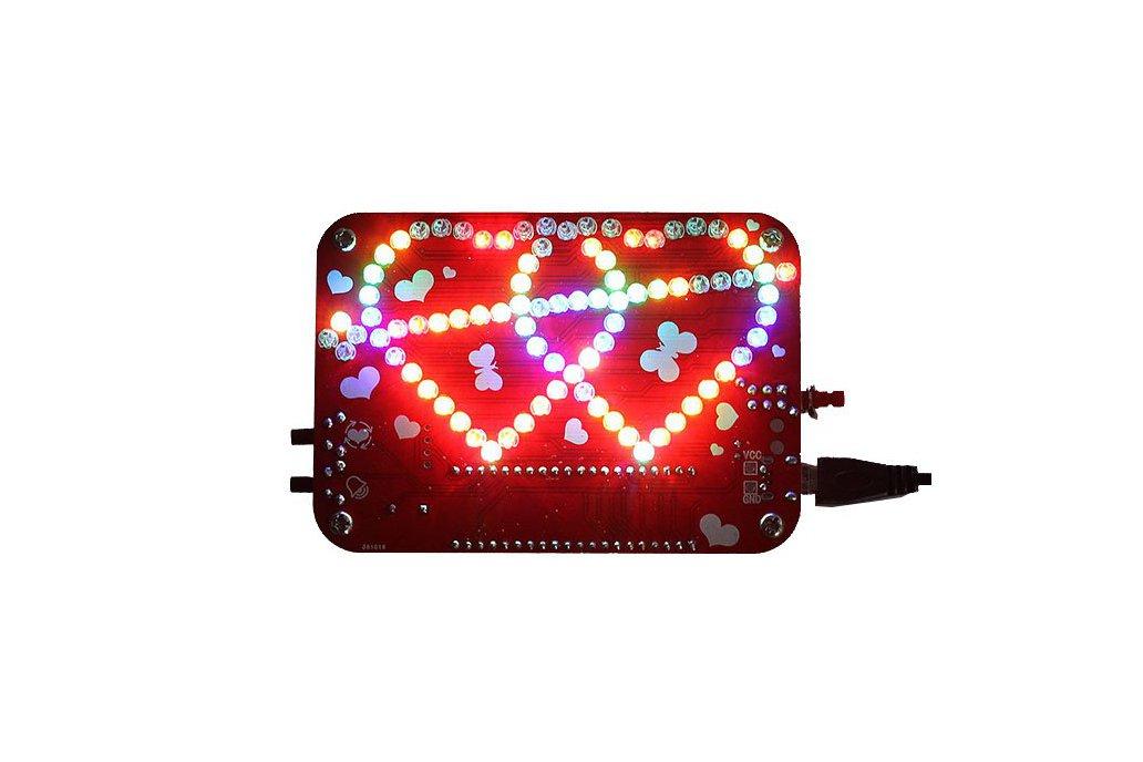 RGB LED Heart-Shaped Flashing Light Kit (13054) 1