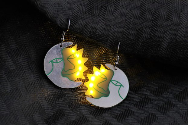 Sun and Moon LED earrings (pair)