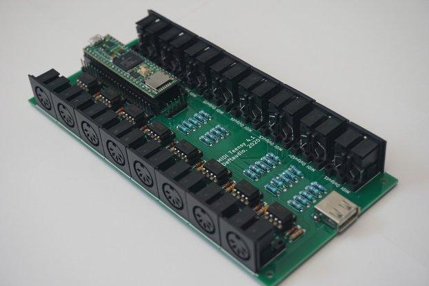 Teensy 4.1 MIDI Breakout board 8in / 8out USB host
