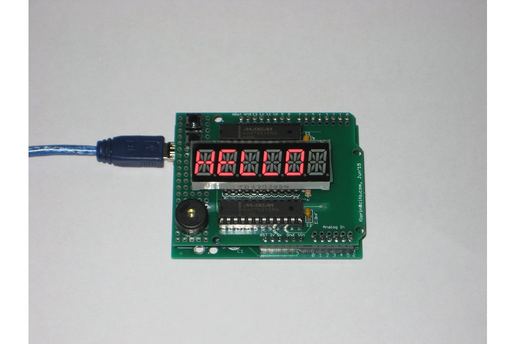 Arduino shield with alphanumeric LED display 1