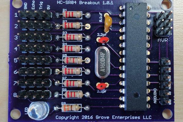 Octasonic 8 x HC-SR04 Ultrasonic Breakout Board