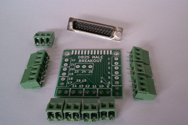 DB25 Male D-Sub 25pin Parallel Breakout Board Kit
