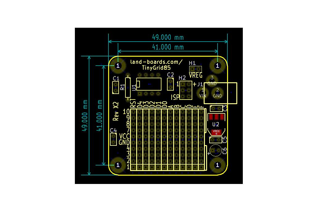 TinyGrid85 - ATTiny85 board with prototyping area 5