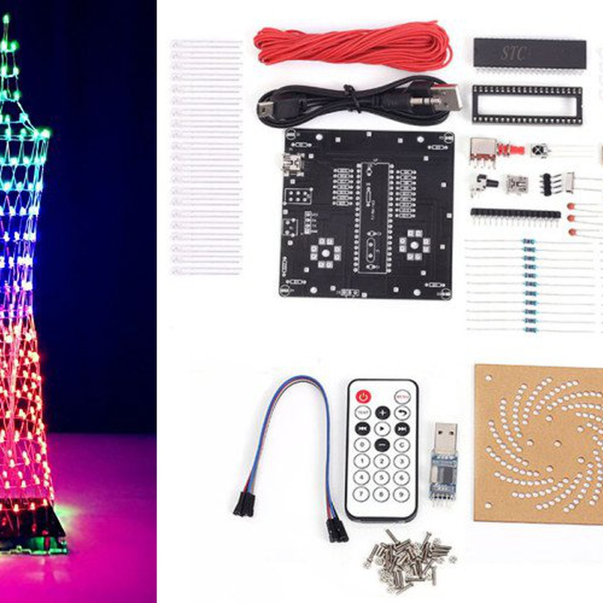 Diy Kit Colorful Led Tower Display12320 From Icstation On Tindie Pcb Layout Small Christmas Flasher Circuit With Sound