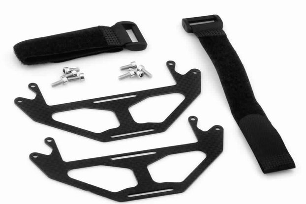 Carbon Fiber Dual-Battery Mount Extension Plates w/ Velcro Band for DJI Phantom