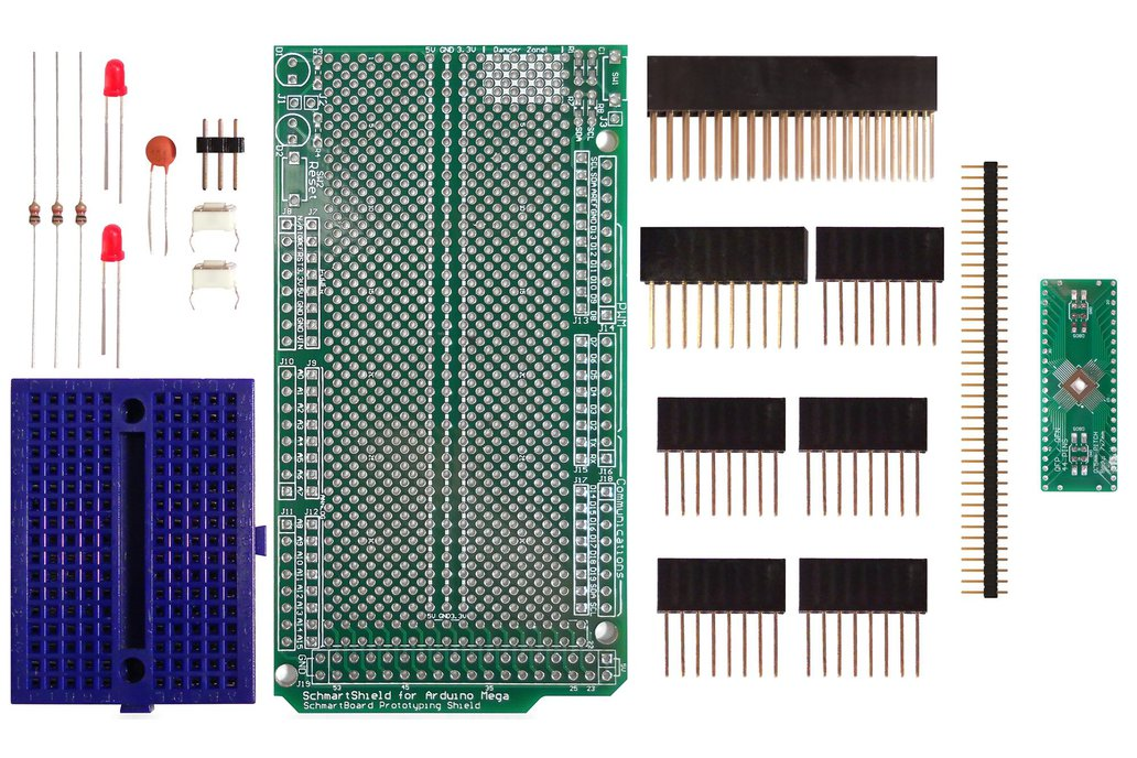 SchmartBoard|ez 0.5mm Pitch 44 Pin QFP/QFN Arduino Mega Shield Kit 1