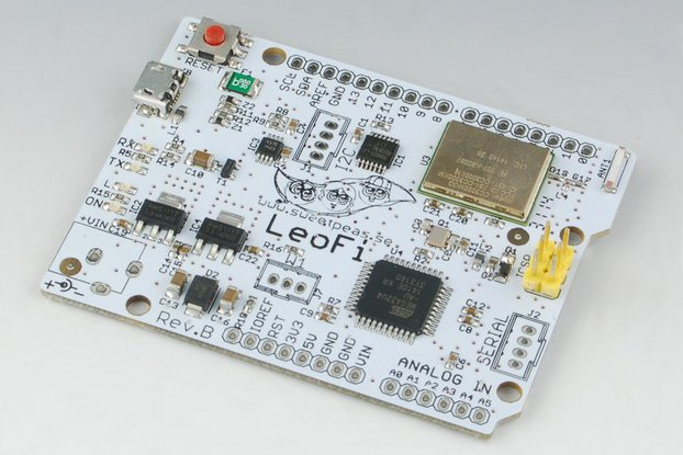 SweetPea LeoFi, a WiFi enabled, Arduino Leonardo compatible board.