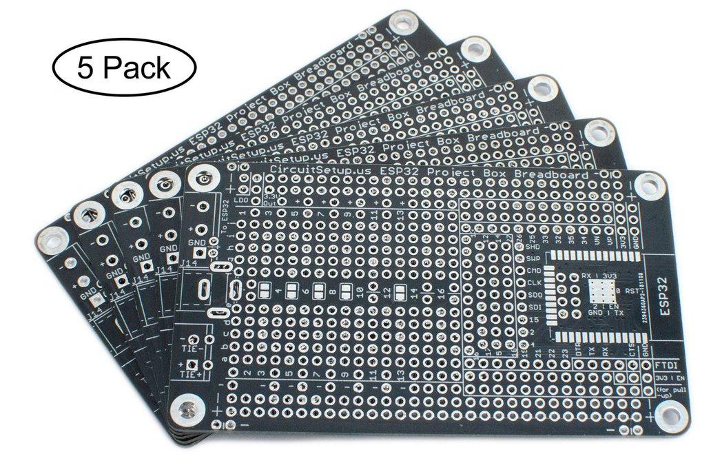 Solderable Breadboard for ESP32/ESP8266 (5-Pack) 1