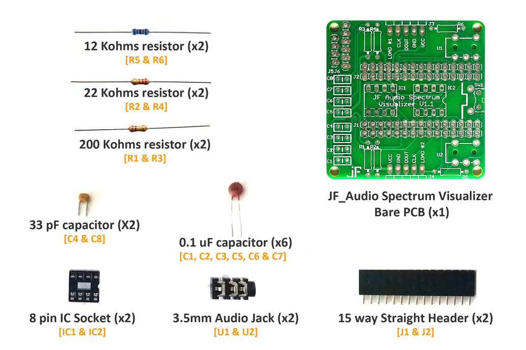 JF Audio Spectrum Visualizer Board (Basic Kit) 2