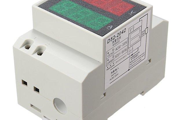 Din Rail LED AC 80-300V 0-100.0A Volt Meter