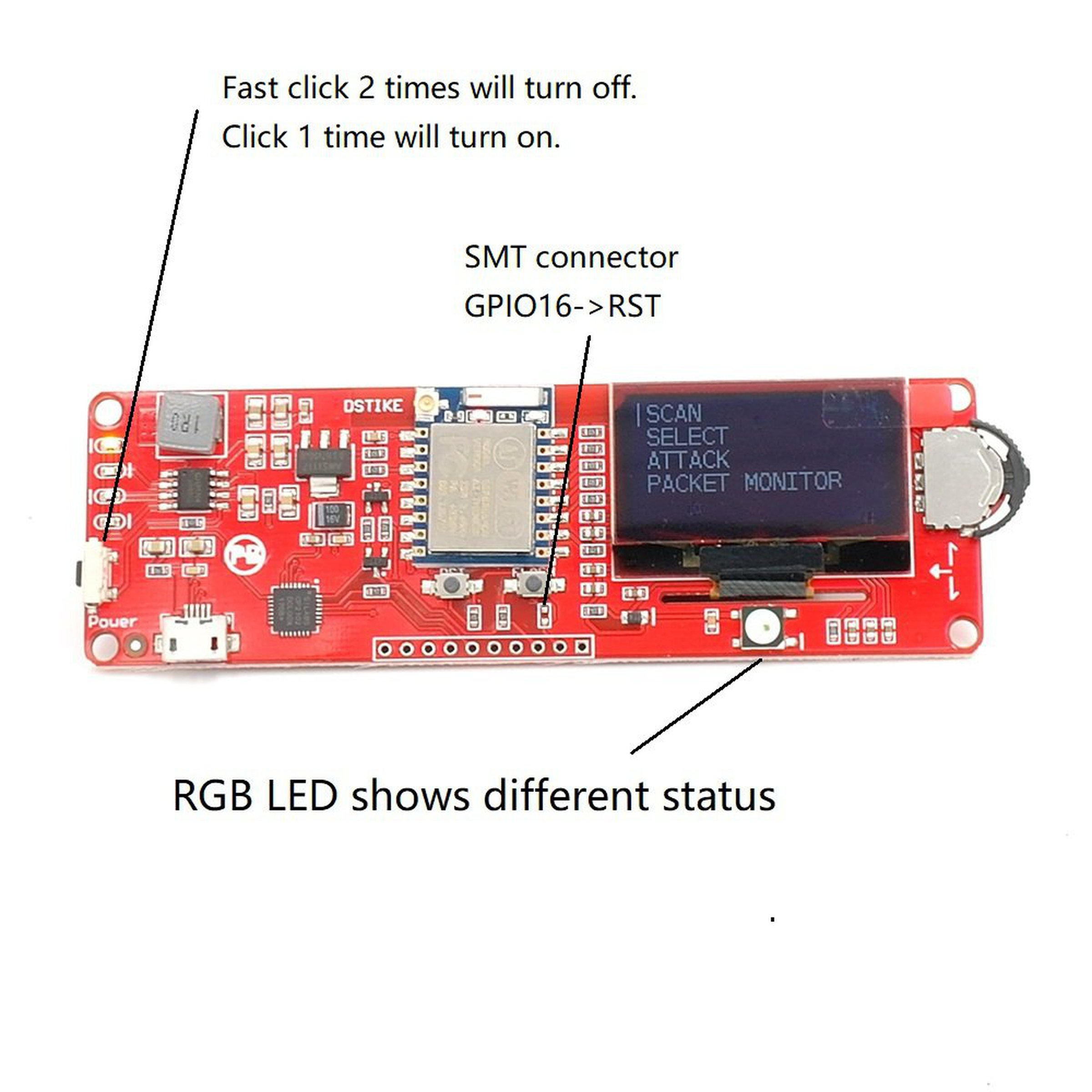 Dstike Wifi Deauther Oled V35 Added Rgb Led From Travis Lin On Tindie Circuit 5