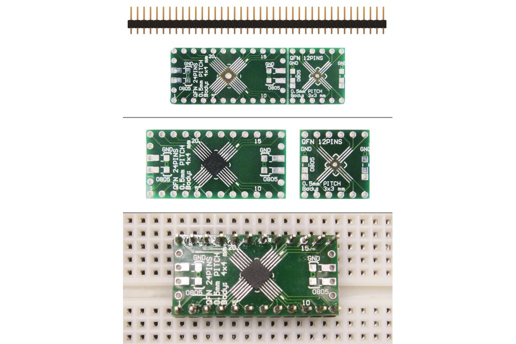 SchmartBoard|ez .5mm Pitch, 12 and 24 Pin QFP & QFN Adapter 1