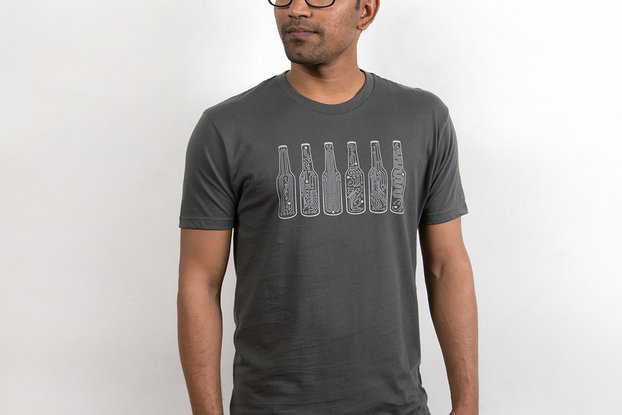 BAR CODE  - Mens Graphic T-shirt in Grey