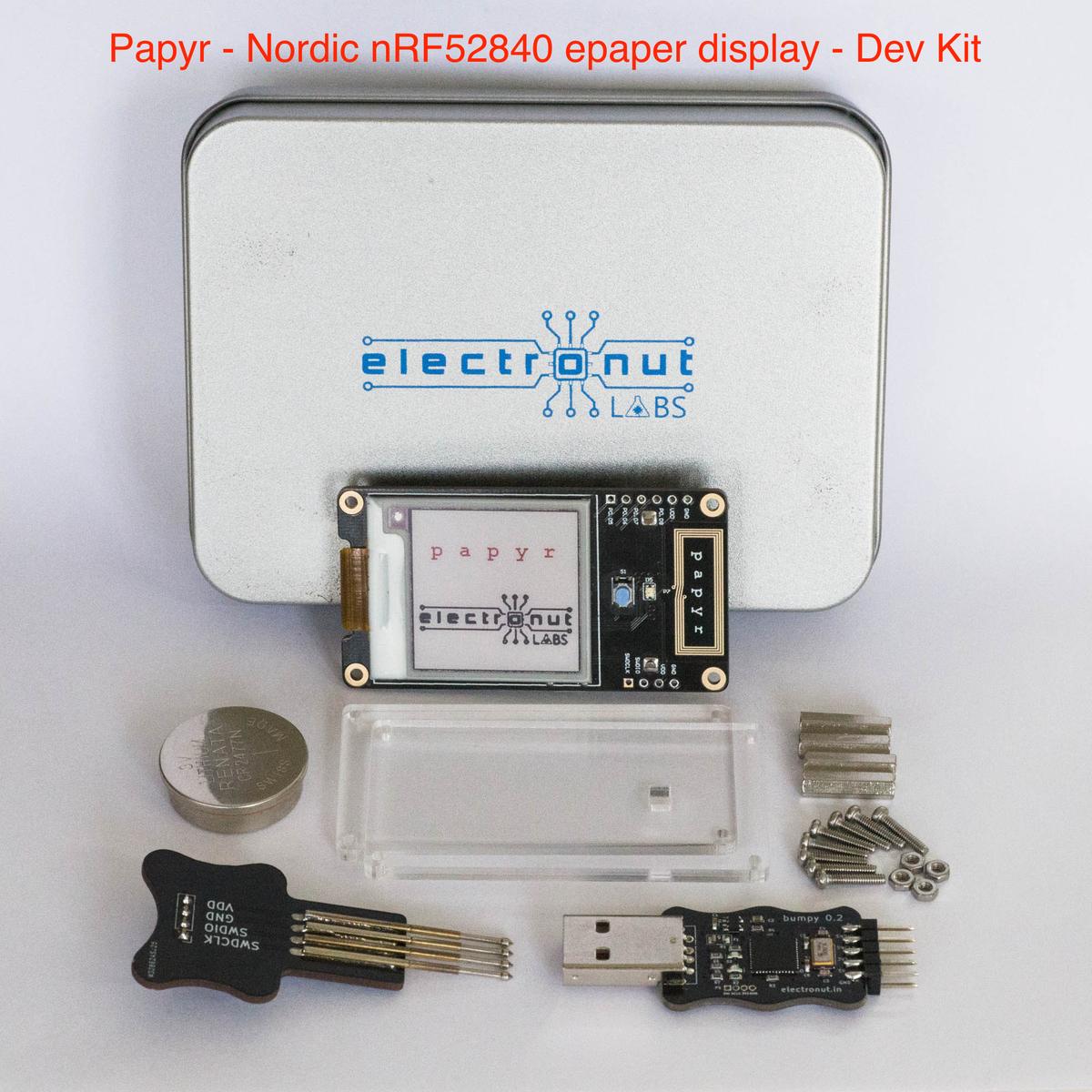 Papyr Dev Kit - Nordic nRF52840 epaper display from