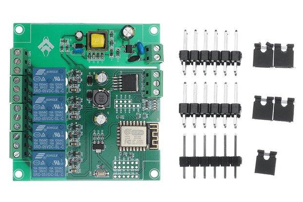 AC/DC Power Supply ESP8266 WIFI Four-way Relay