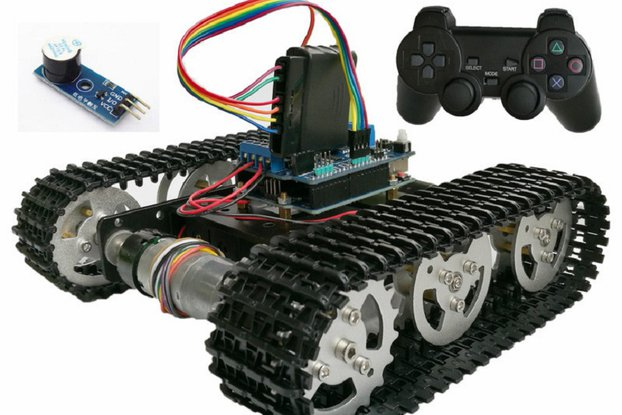 Wireless Control PS2 joystick Tank Car Chassis