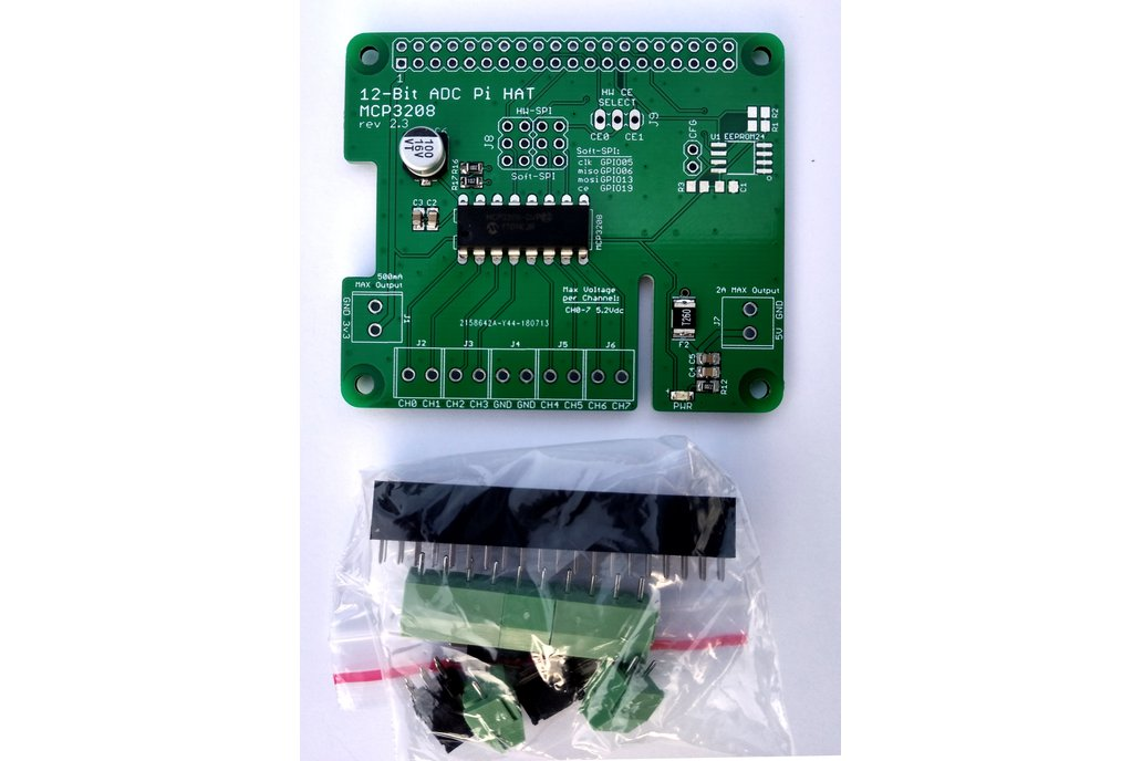 12-Bit/8-Channel ADC HAT for Raspberry Pi