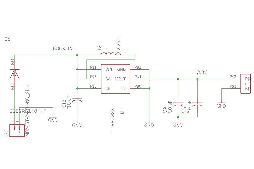 TPS610995 3.6 V Booster Board 4