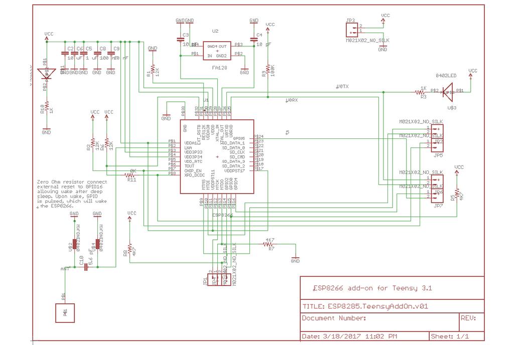 ESP8285 Add-on for Teensy 3.2 5