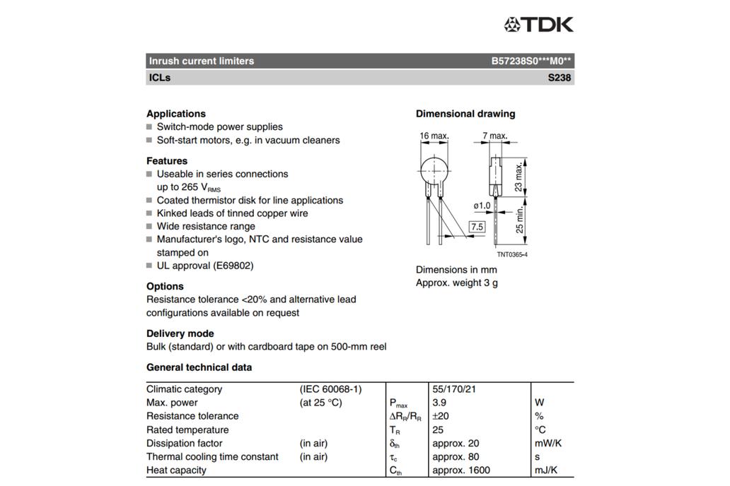 Inrush current limiter (QTY 5) 1