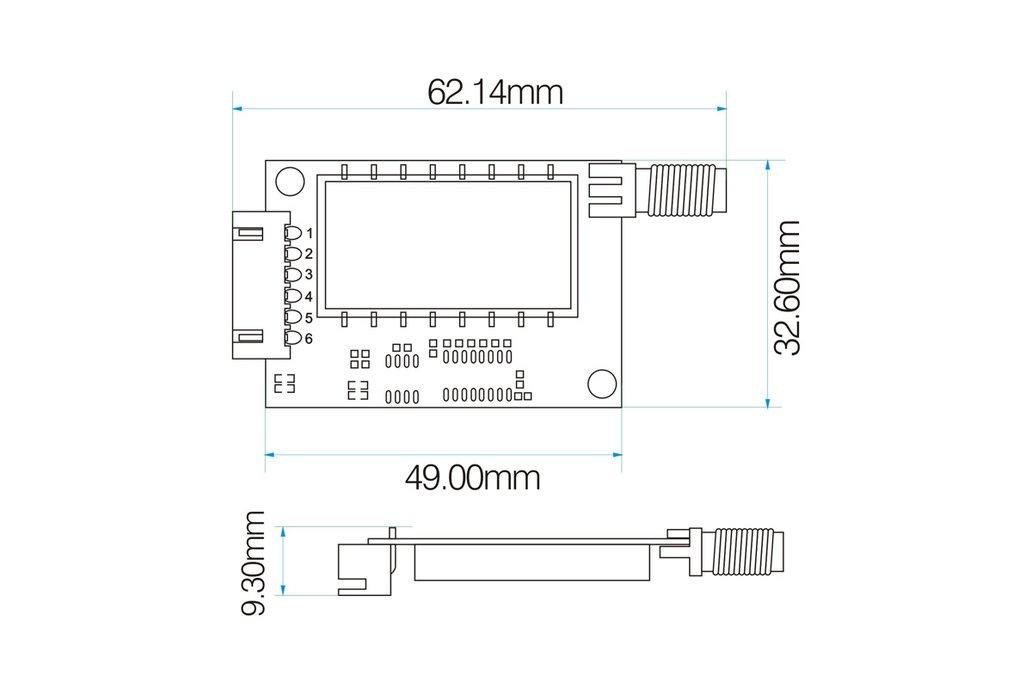 2pcs Lora611 433MHz TTL interface 100mW RF Module  6