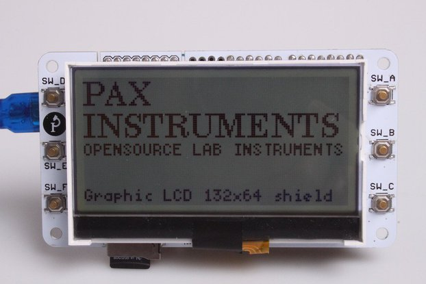 Graphic LCD 132×64 Arduino Shield + LCD