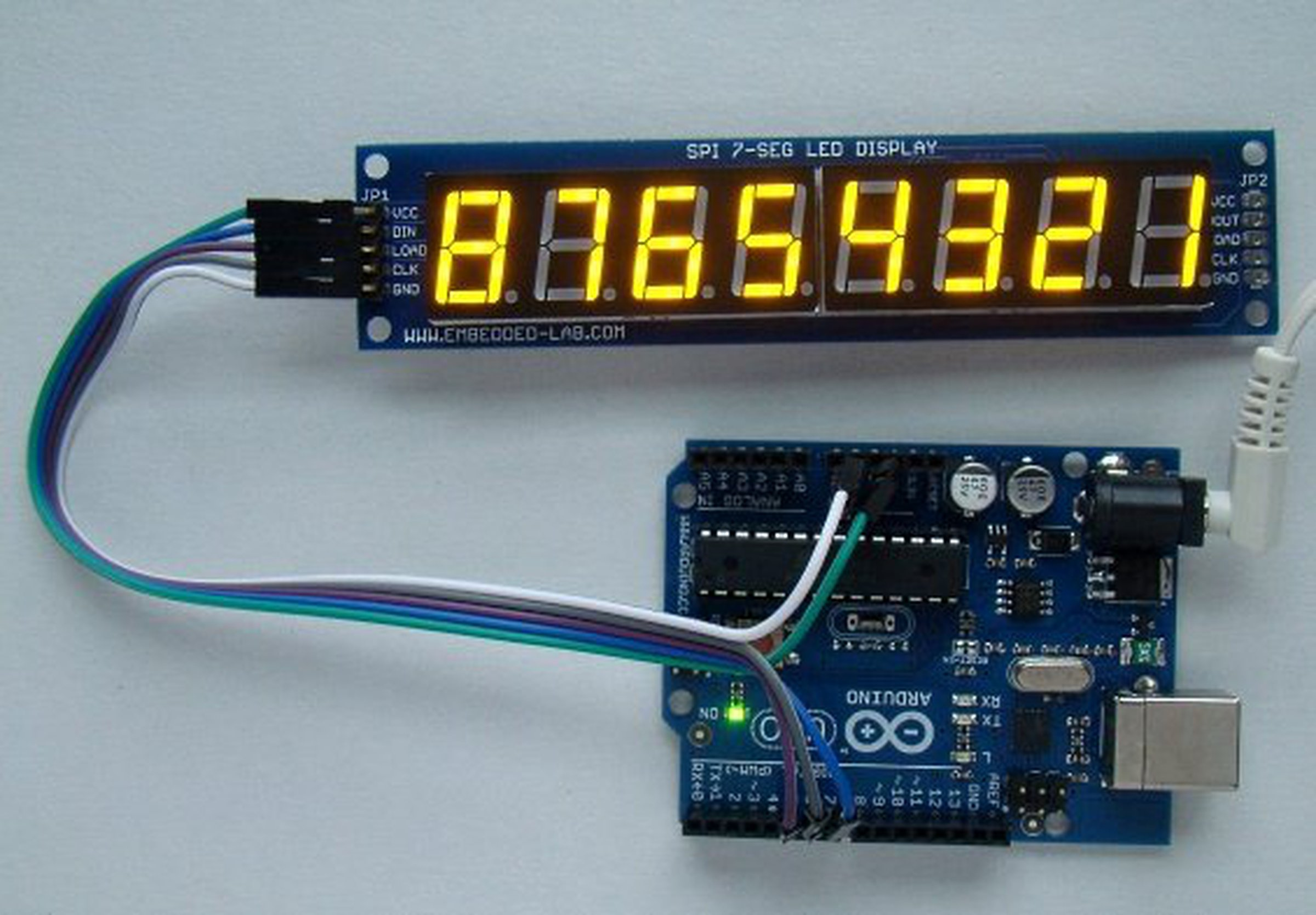Serial 8 Digit 7 Segment Led Display Yellow From Embedded Lab On Seven Circuit Diagram Further Matrix 2