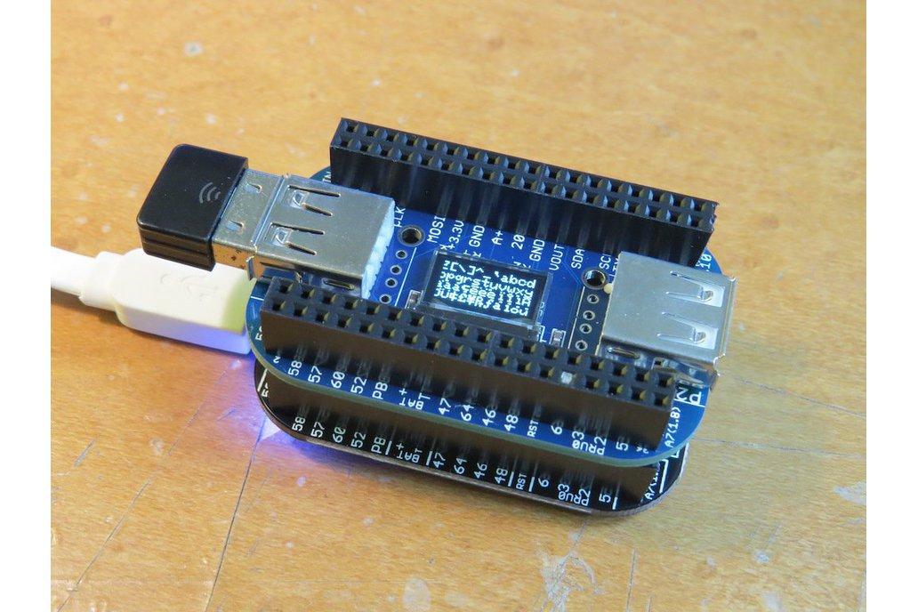 OLED with 2/4-port USB HUB cape for PocketBeagle 1
