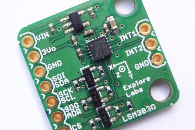 LSM303D 3D Accelerometer + 3D Magnetometer Board