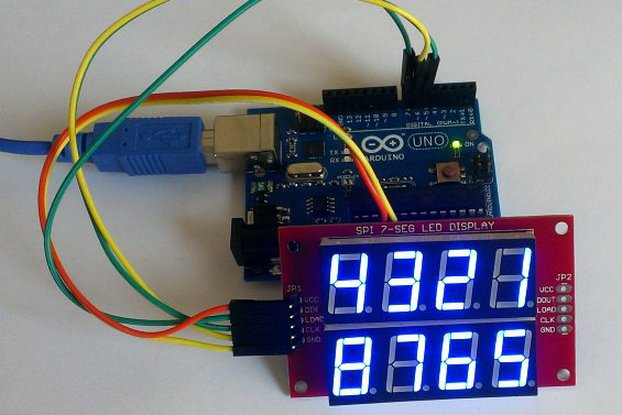 Double row 4-digit seven segment LED display-BLUE