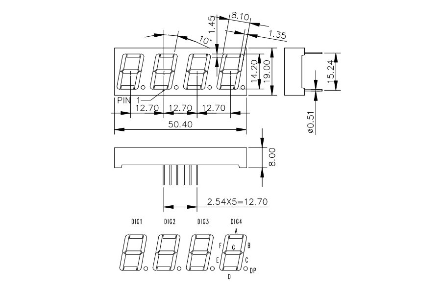 4 Digit Seven Segment LED Display (Common Cathode)