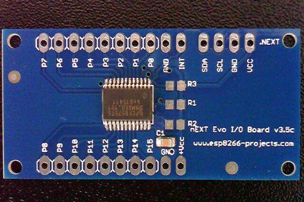 16 GPIO lines extension board, Arduino, ESP8266