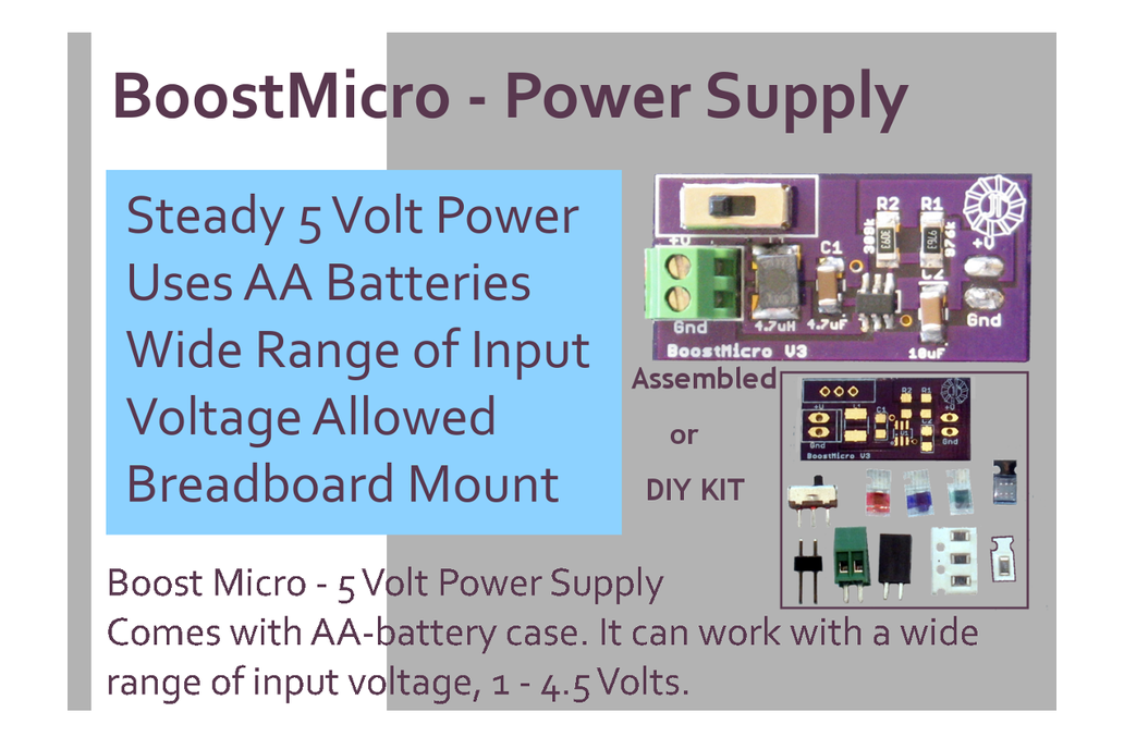 BoostMicro - 5 Volt Power Supply,  Assembled 3