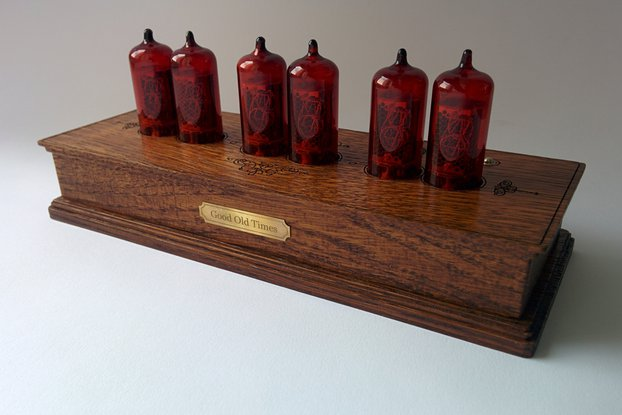 Vintage Nixie Clock On Z573 Tubes In Wooden Case