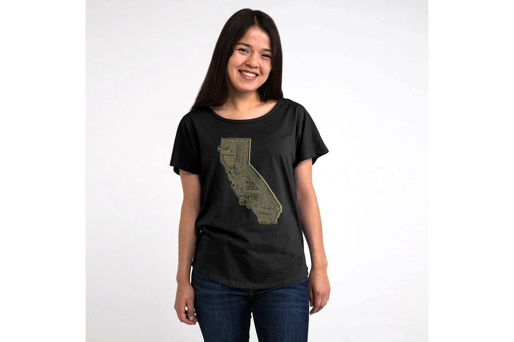 Cali Tech Womens Graphic T-shirt in Black 1
