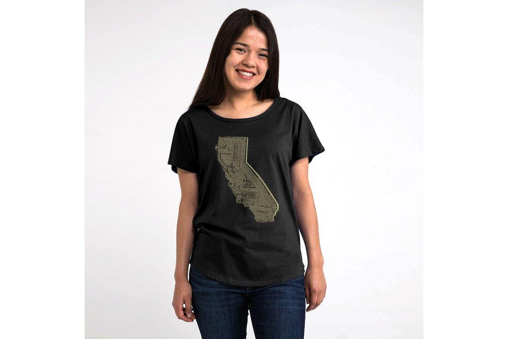 Cali Tech Womens Graphic T-shirt in Black 1