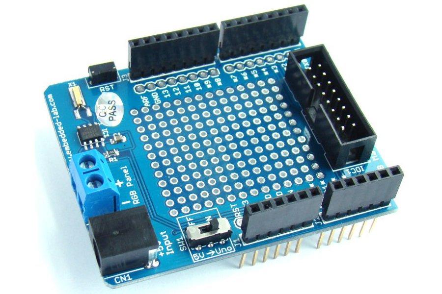 16x32 RGB Matrix panel with an Arduino Uno  shield