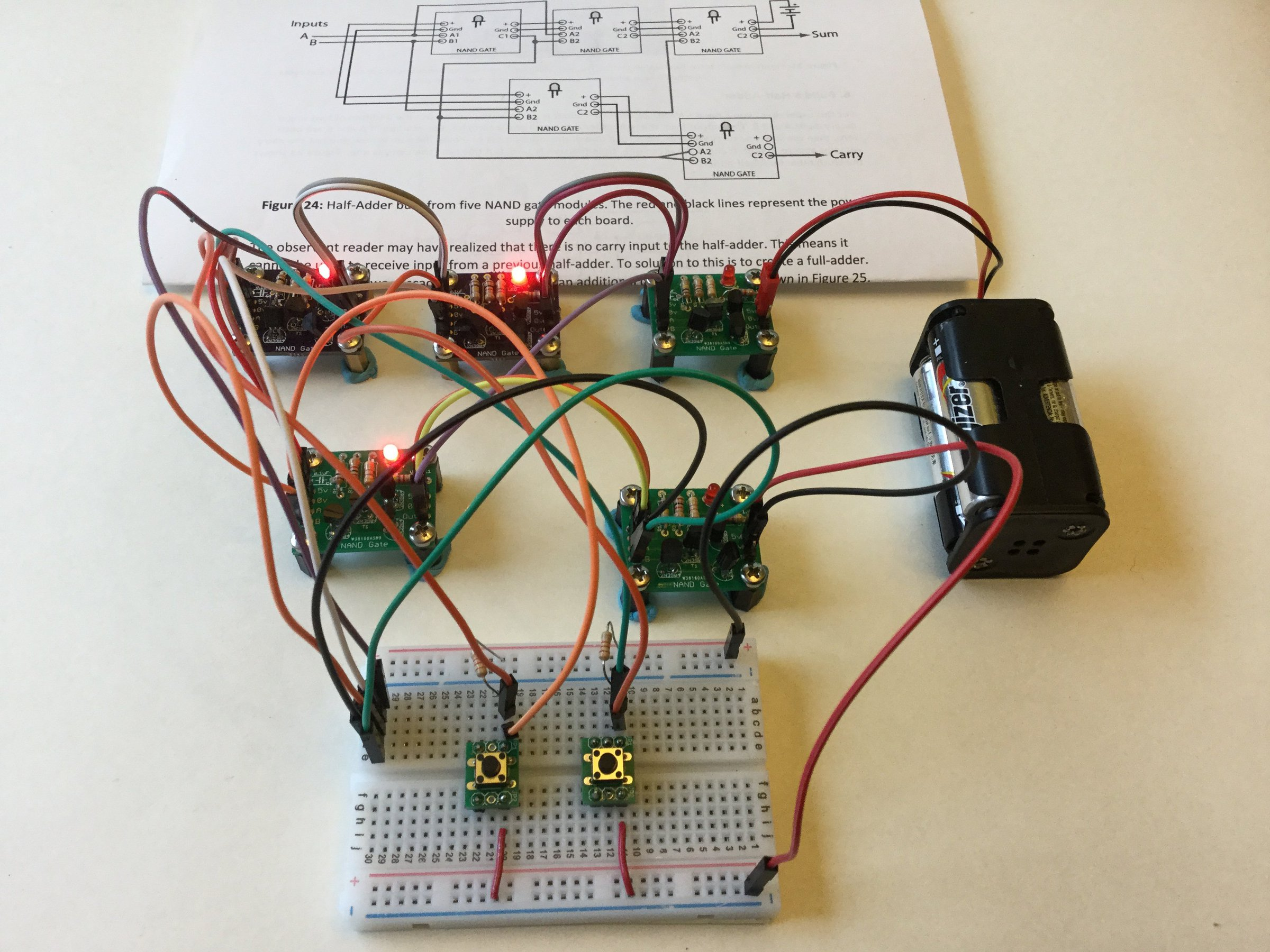 Half Adder Built From Transistor Nand Gates Theosauro On Tindie Logic Diagram Using Only 1