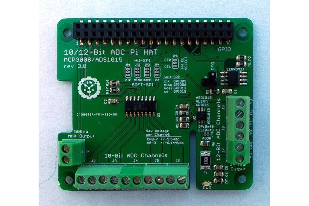 12-Ch 10/12-Bit ADC HAT for Raspberry Pi v3.0 1