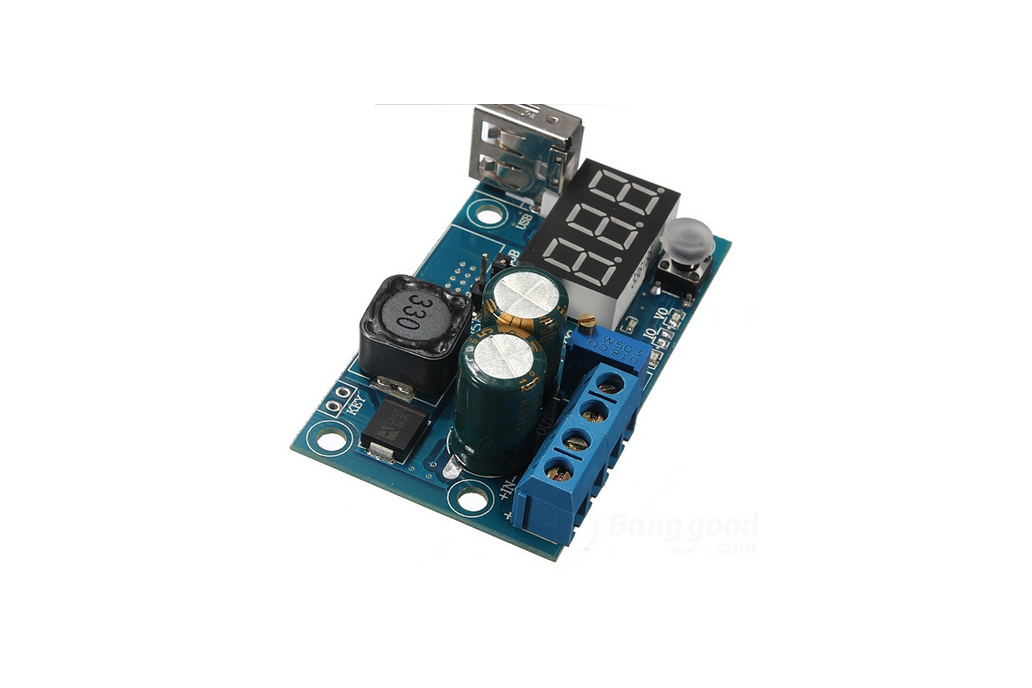 5Pcs DC-DC LM2596 USB LED Voltmeter Adjustable Step Down Module 1