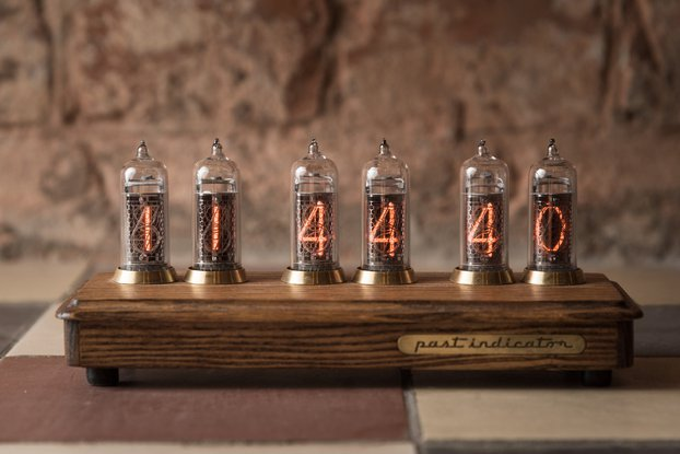 Nixie tube clock in ash and brass case