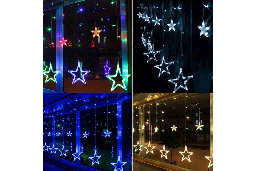Christmas Lights Fairy Star LED Curtain String 9