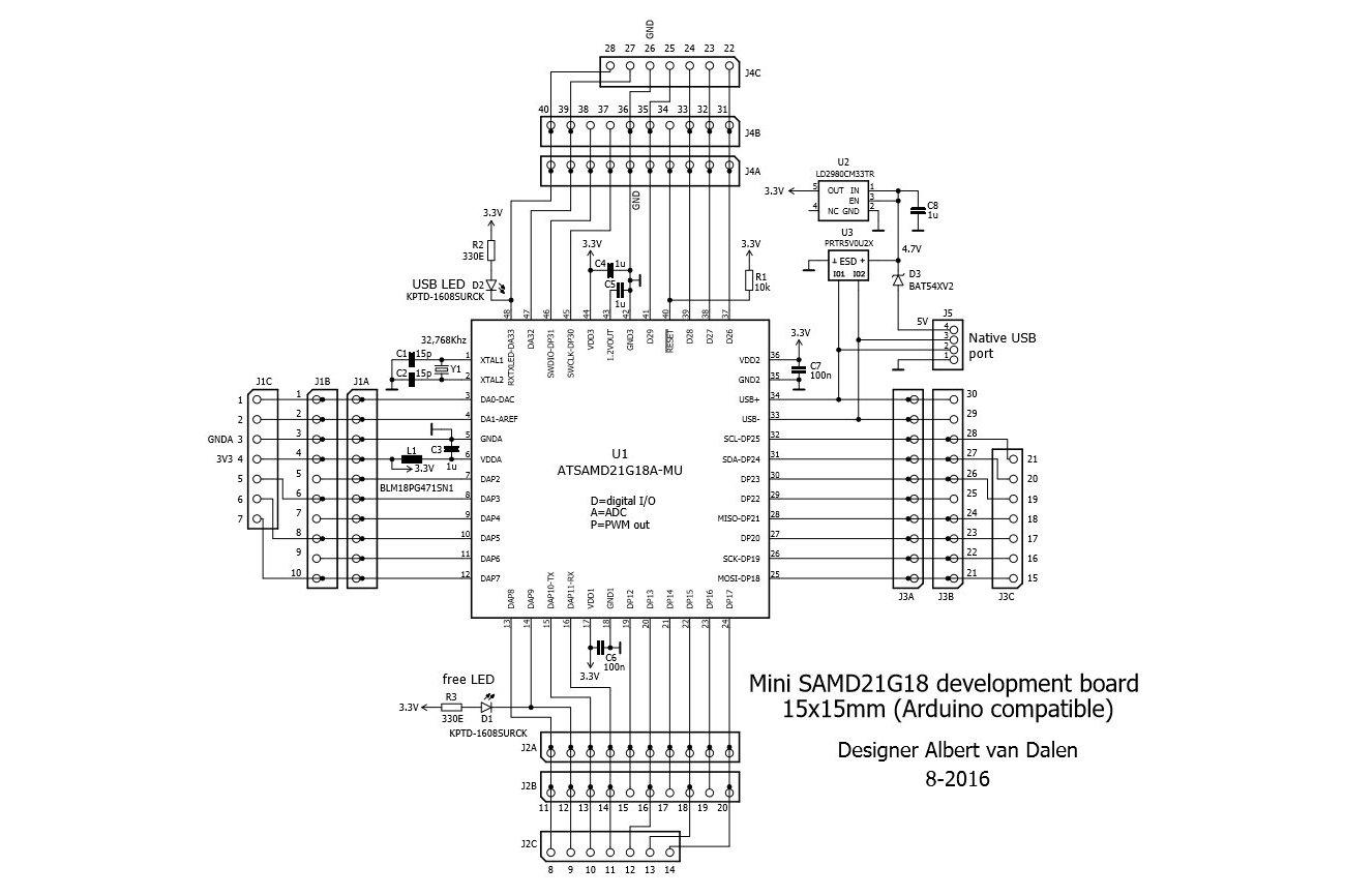 sam 15x15 arduino zero compatible samd21 board from