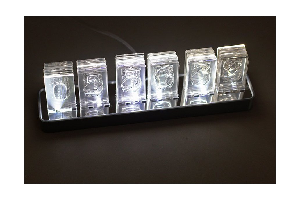 NIXT CLOCK Kit - Acrylic Nixie Led Clock Edge Lit 1