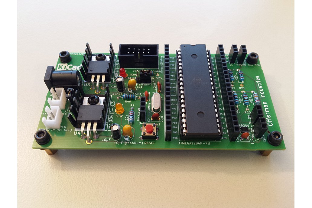 ATmega1284 dev board with 5V & 3.3V I2C and power 1